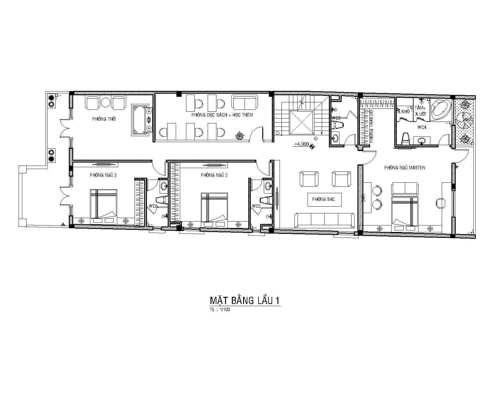 Mặt bằng lầu 1-bản vẽ mẫu nhà 3 tầng đẹp