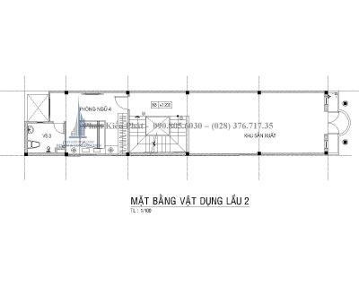 Bản vẽ mặt bằng lầu 2 nhà phố 1 trệt 2 lầu mái thái mặt tiền 4m