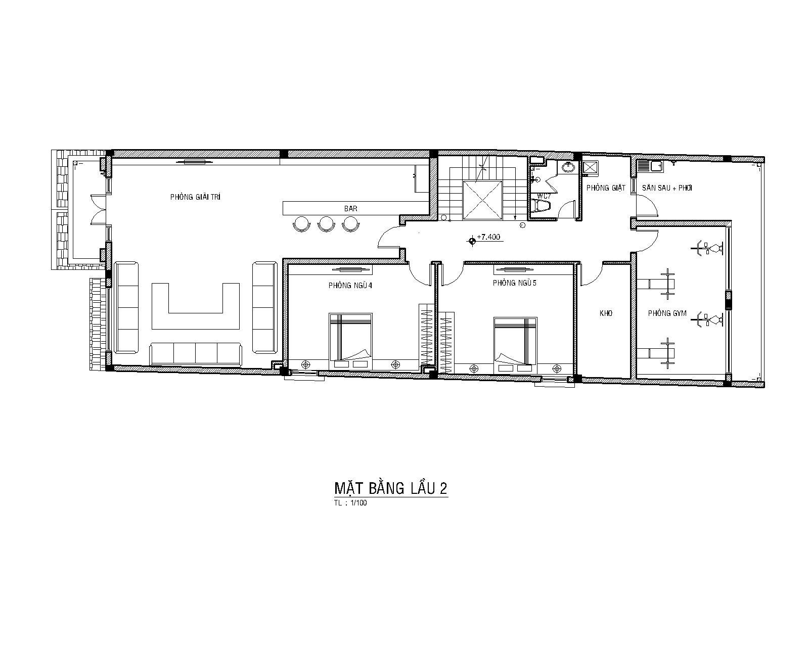 Mặt bằng lầu 2 mẫu nhà phố 3 tầng mái thái