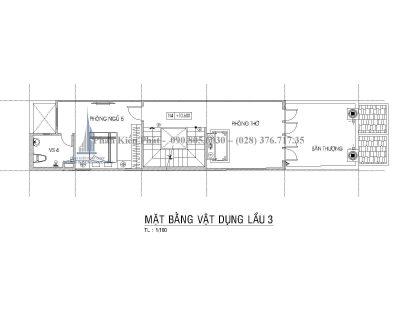 Bản vẽ mặt bằng lầu 3 nhà 5 tầng mái thái mặt tiền 4m