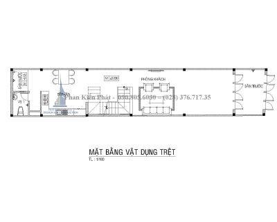 Bản vẽ mặt bằng trệt nhà phố 3 tầng mái thái mặt tiền 4m