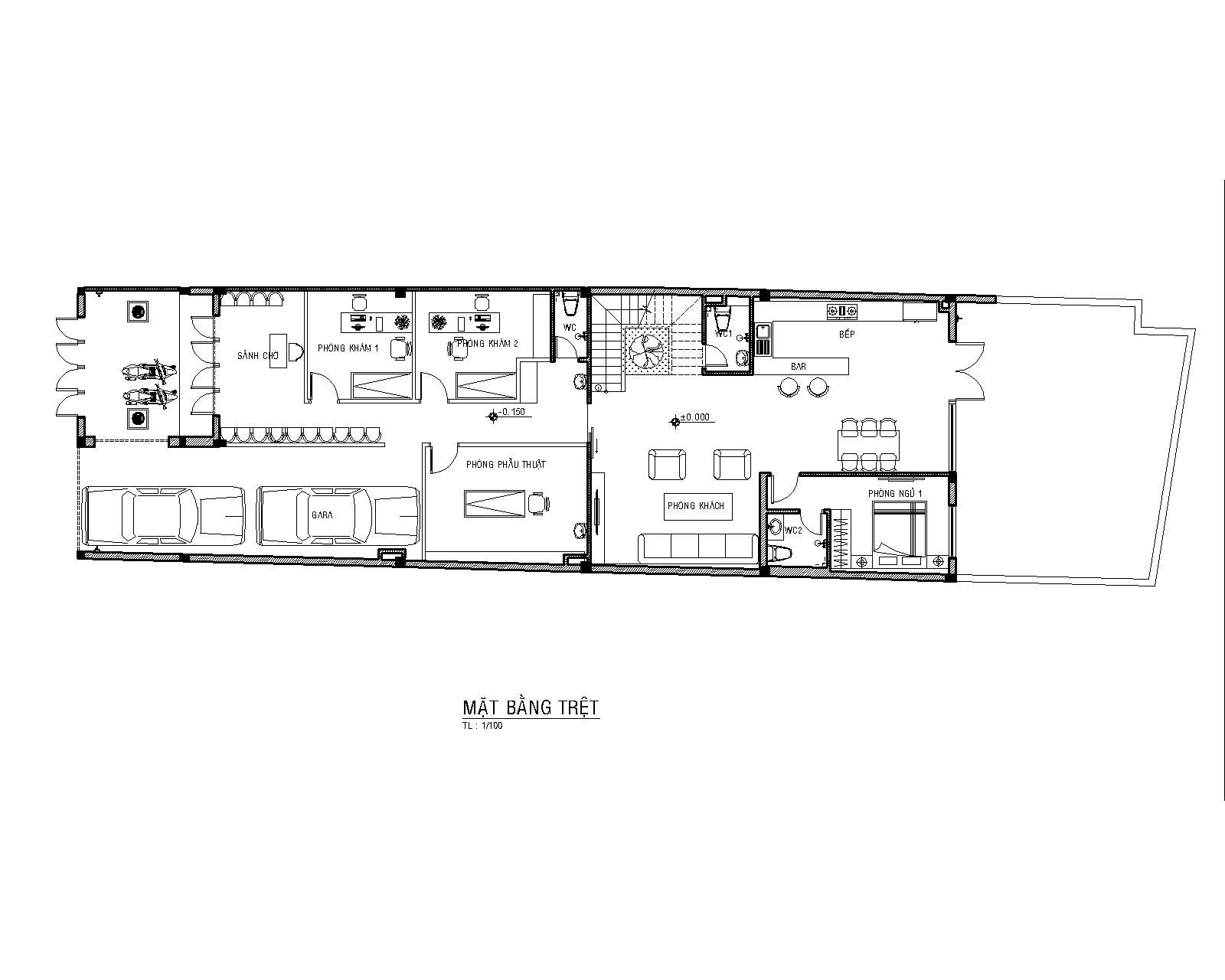 Mặt bằng trệt - bản vẽ mẫu nhà 3 tầng đẹp