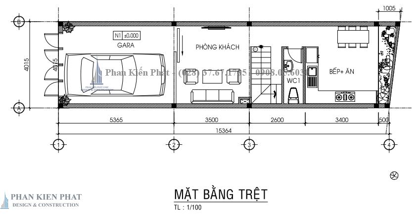 Ban Ve Chi Tiet Mat Bang Tret Nha Pho 3 Tang