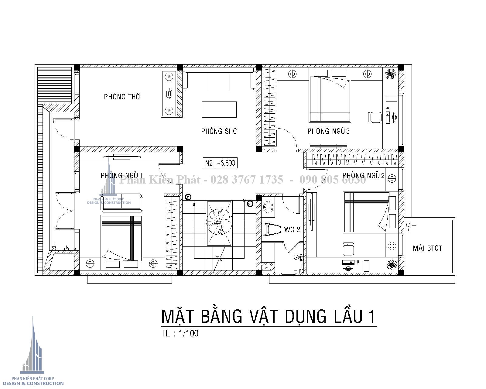 Mat Bang Lau 1 Biet Thu Pho Hien Dai Binh Phuoc Tkxn