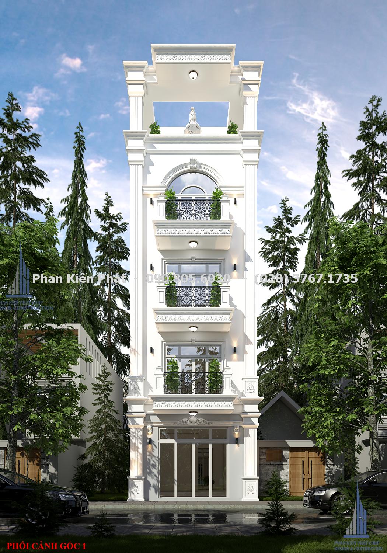 Ngoai That Mau Thiet Ke Nha Pho Dep Anh Vu - biệt thự 5 tầng