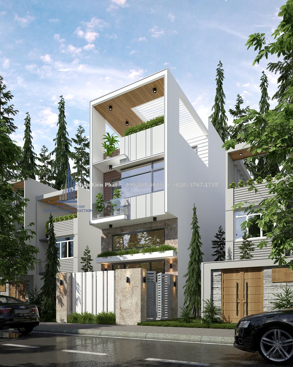 Thiết kế nhà phố đẹp lệch tầng Ap Dung Giai Phap Lay Sang Nhu Gieng Troitkxdnd 2