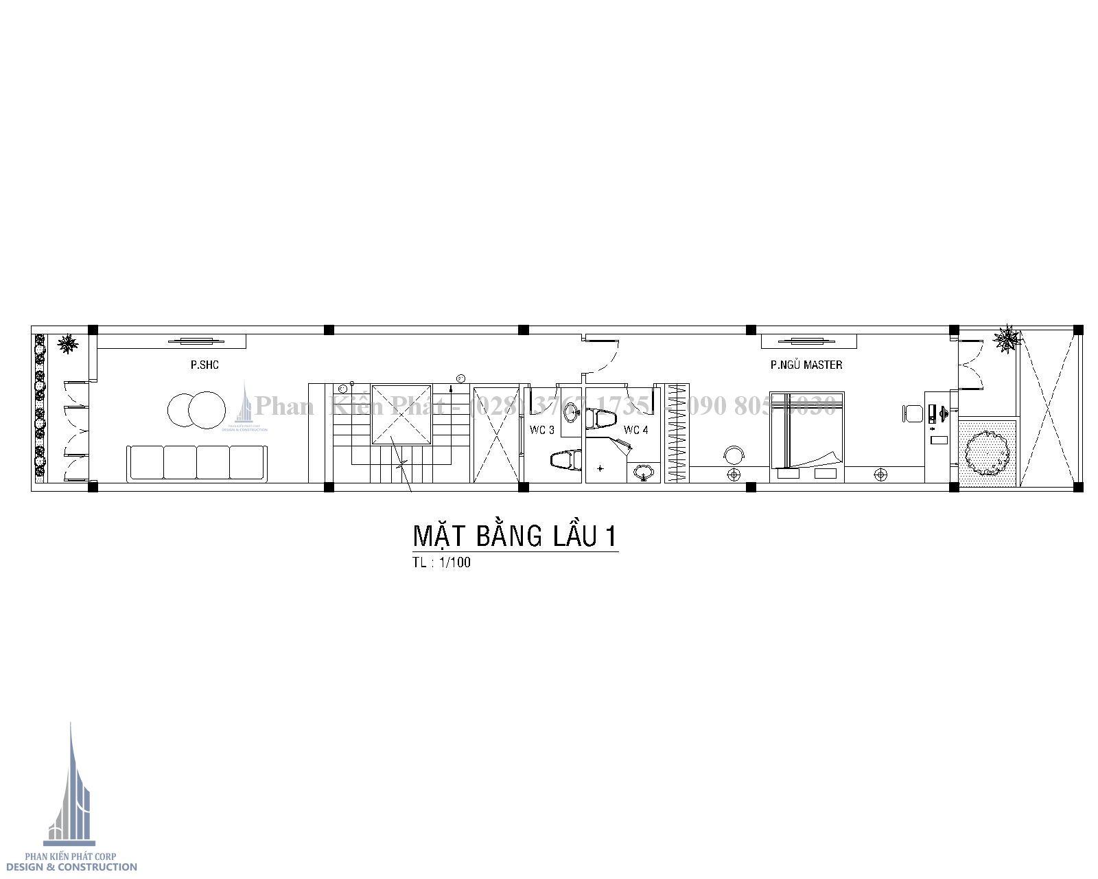 Mat Bang Lau 1 Mau Nha Ong 4 Tang Hien Dai 1 Tret 3 Lau