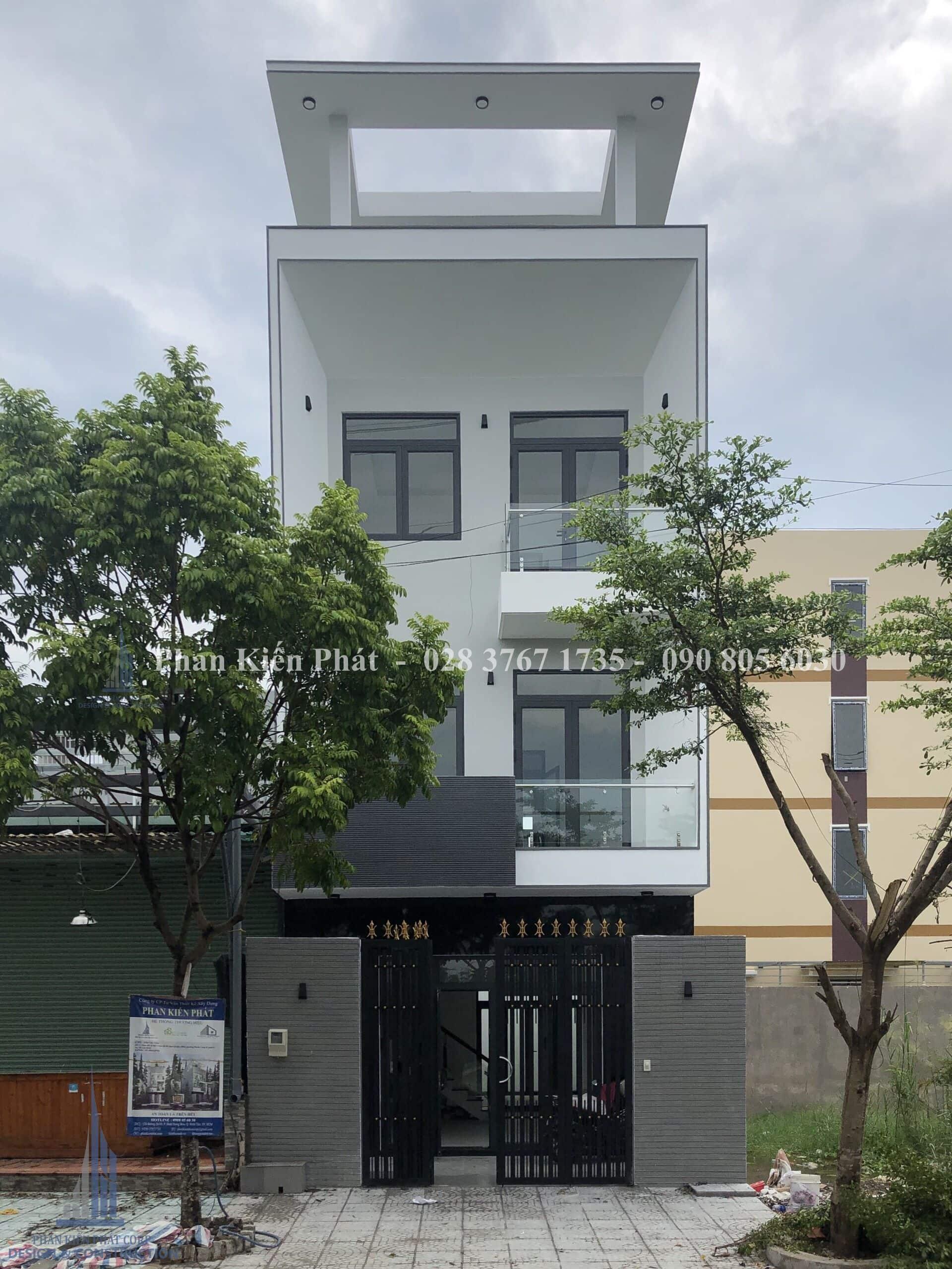 Thi công nhà phố hiện đại ngang 5,5m cao 4 tầng tại quận 9