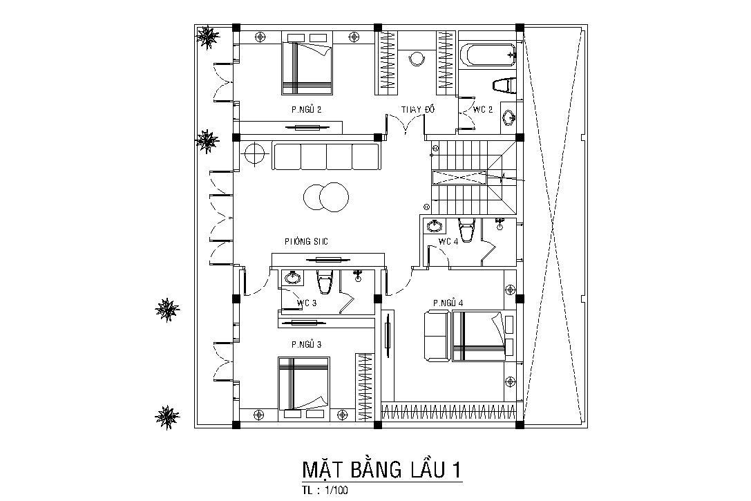 Thiet Ke Kien Truc Mat Bang Lau 1 Biet Thu 3 Tang Kieu Hien Dai A Lam