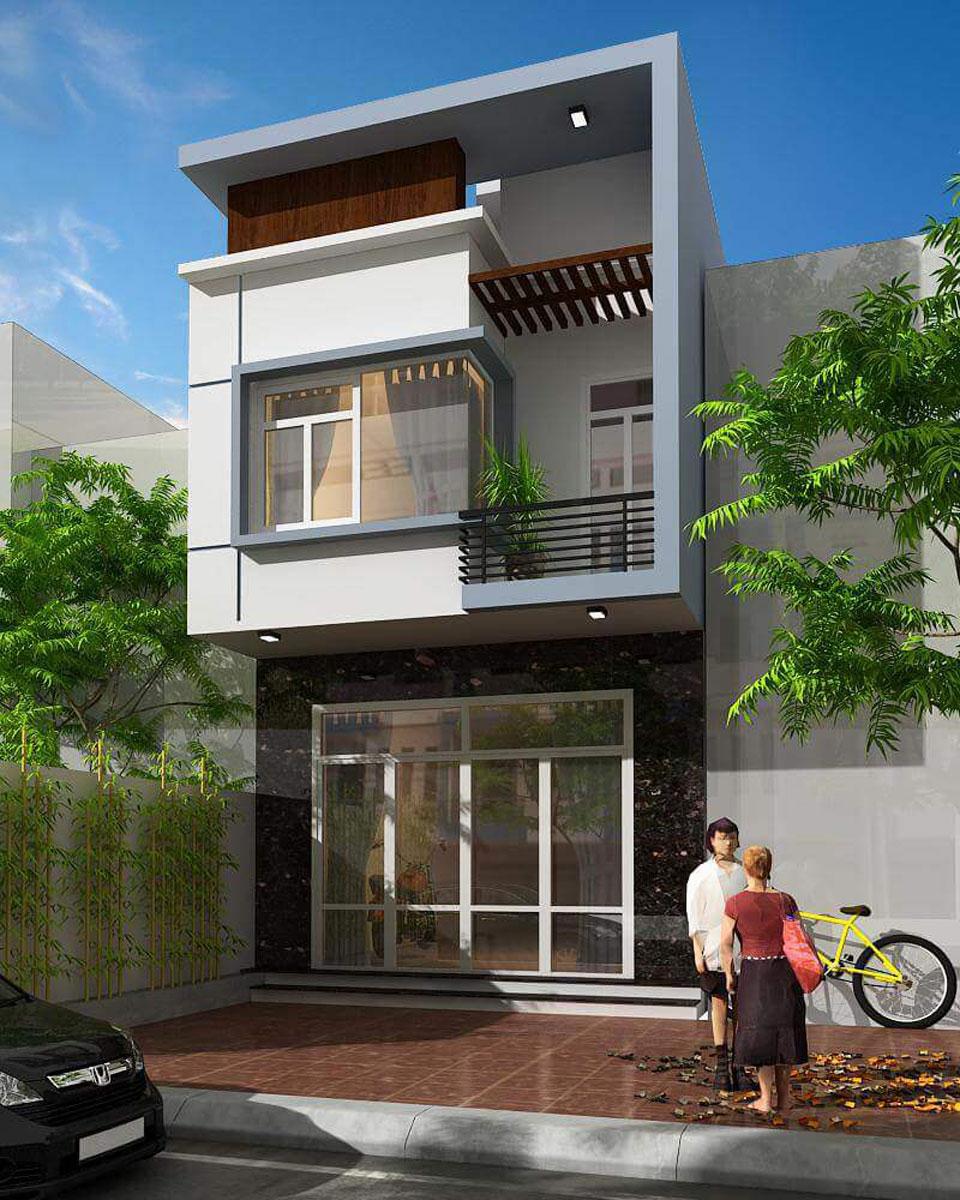 Thiet Ke Nha 2 Tang Don Gian Ben Dep 13-Mẫu xây nhà 2 tầng mái bằng đẹp