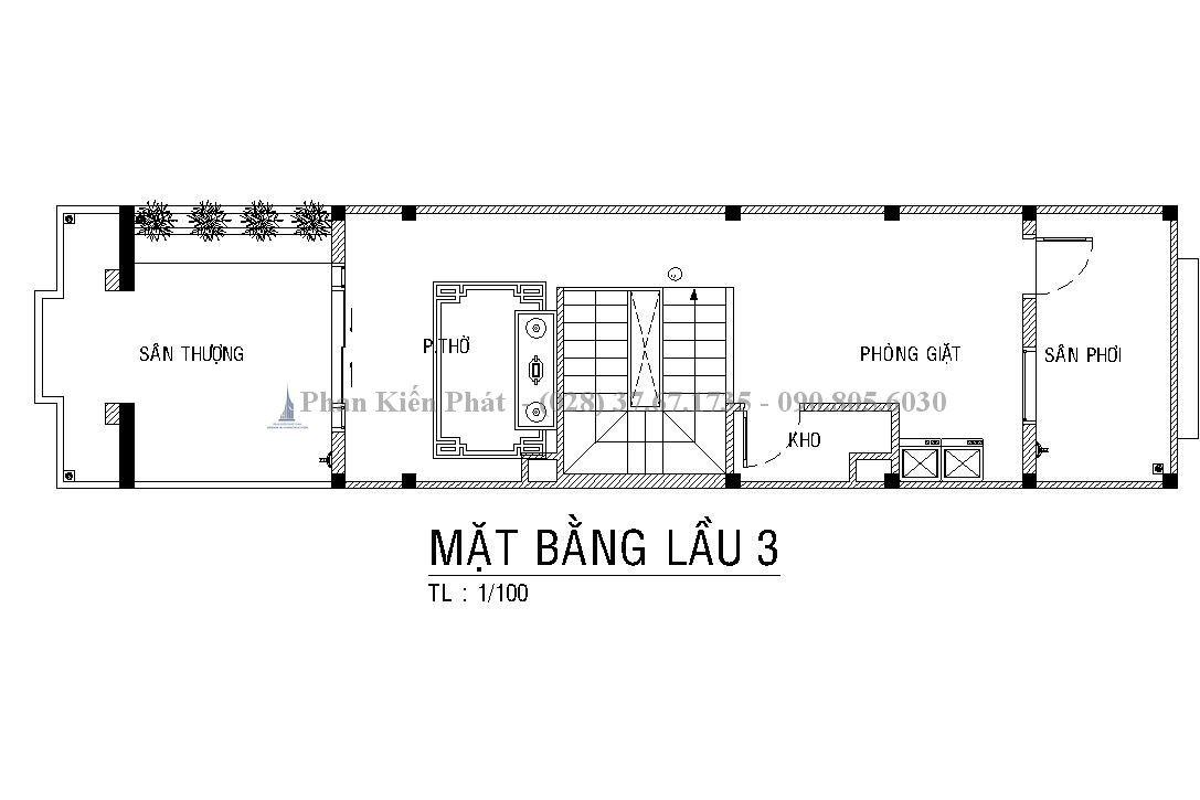 Thiết kế nhà 4x16m có gara và 3 phòng ngủ