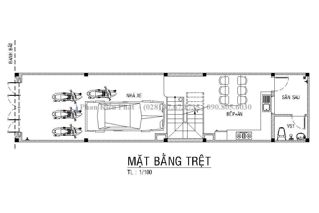 Mẫu thiết kế nhà ống tân cổ điển 4 tầng có gara đẹp, sang trọng