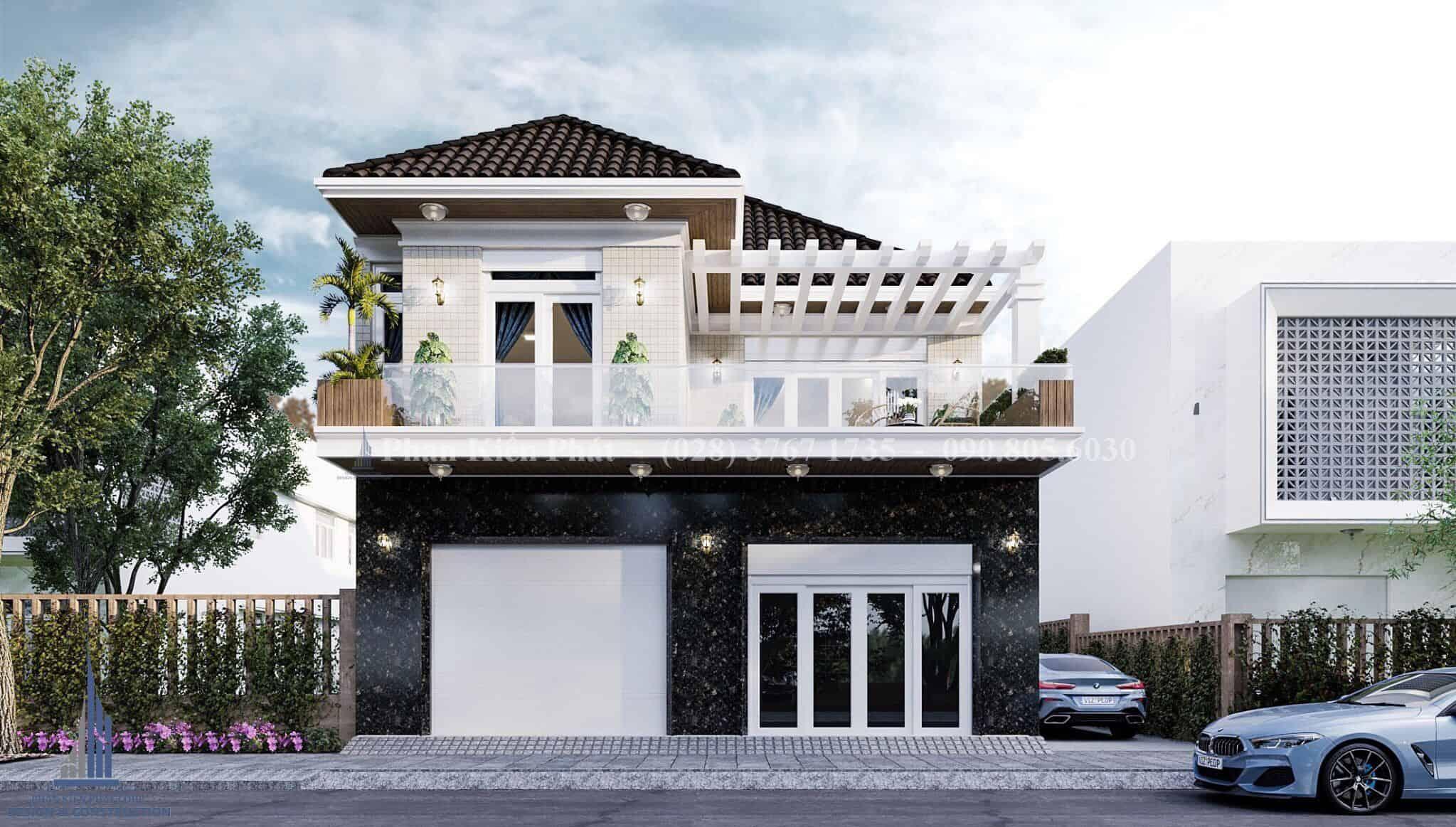 Thiết kế biệt thự mái thái 2 tầng tại Phước Hải