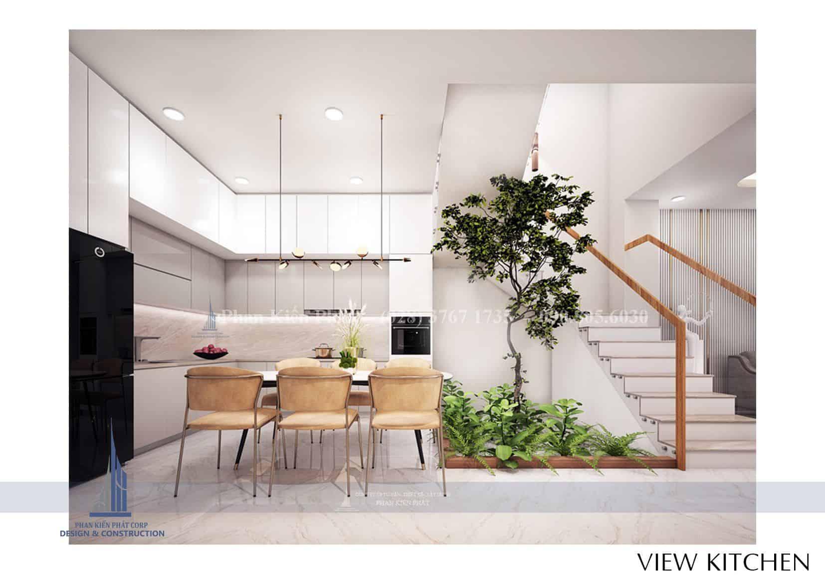 Thiết kế nhà phố 1 trệt 2 lầu hiện đại